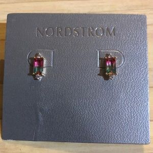 Nordstrom Rectangular Pink/Green Crystal Studs NEW